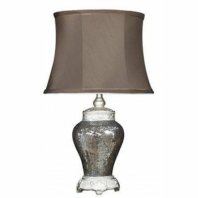 Large Bronze Sparkle Mosaic Antique Silver Regency Lamp With Chocolate Shade