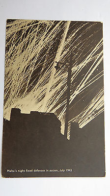 WW2 Postcard July 1943 Malta's Night Fixed Defences In Action Sicily Invasion