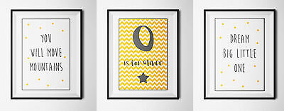 Personalised Children's initial A4 Print- Nursery Wall art-SET OF 3