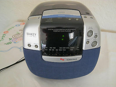 Schneider Wakey Stereo Clock/Radio Alarm with AM/FM - Compact - Easy Set Up