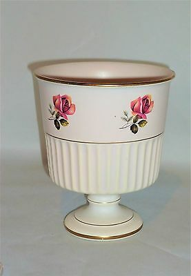Goblet Shaped Candle Holder With A Pink Rose Design Marked Plateel Gouda Holland