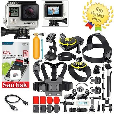 GoPro Hero 4 Silver Touchscreen + Sports Accessories Kit Bundle (40+ PCS)