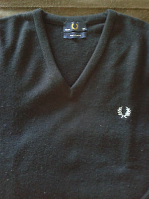 FRED PERRY V-Neck Sweater Navy Size 38 (Small) Made in Scotland UK mod skinhead