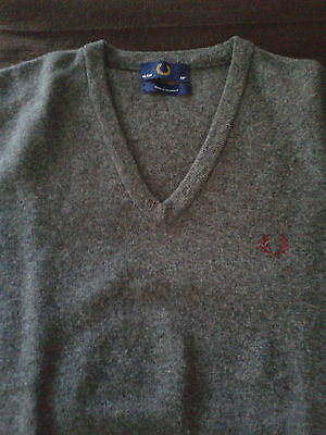 FRED PERRY V-Neck Sweater Grey Size 38 (Small) Made in Scotland UK mod skinhead
