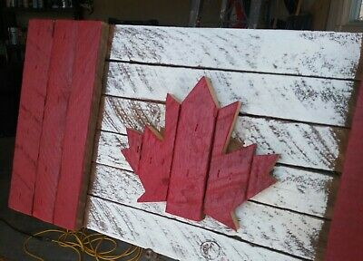 handcrafted, art, rustic, reclaimed wood, Canada flag