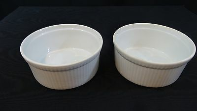 Two 3 Cup Apilco France White Porcelain Souffle Casserole Dishes