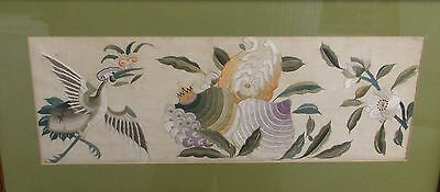Antique Chinese Silk Embroidery Crane Peach Flowers Robe Fragment Qing Period ?
