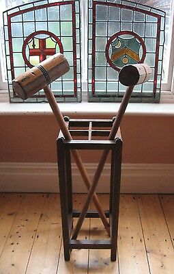 "Collectable 1931 ""papworth Industries Cambridge"" Oak Umbrella/stick Stand"