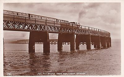 Dundee - The Tay Bridge With Steam Train - Real Photo By White
