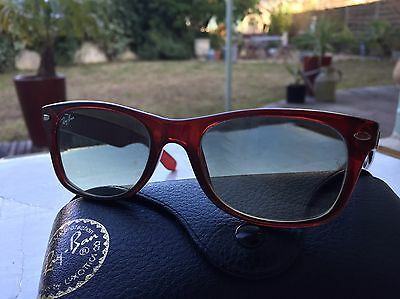 Lunettes Soleil Ray Ban New Wayfarer  Rb2132 52/18 Rouge 735/32 Italie