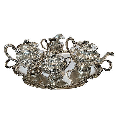 Antique German 19th Century Rococo Style Silver Tea Service