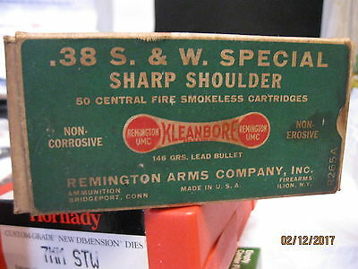VyGd 1920's SCARCE .38  S. & W. Special DOGBONE Sharp Shoulder Ammo Box # R 265A