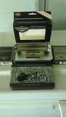 HARLEY DAVIDSON 95th ANNIVERSARY 2 DECKS PLAYING CARDS IN COLLECTOR TIN BOX