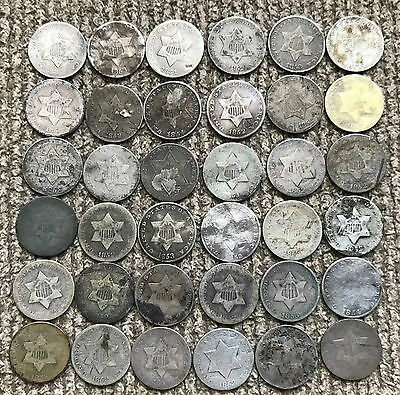 36 low grade Three Cent Silver coins with dates