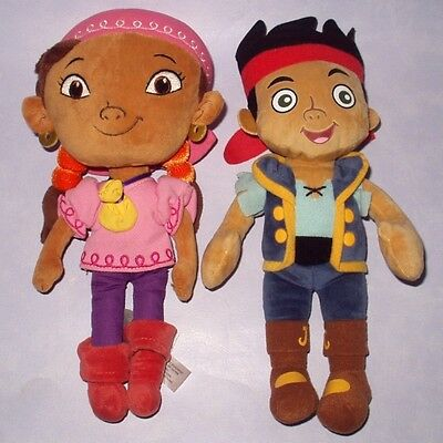 "Disney's  Neverland Pirates - Jake & Izzy - 12"" Plush Soft Toys Dolls Vgc"