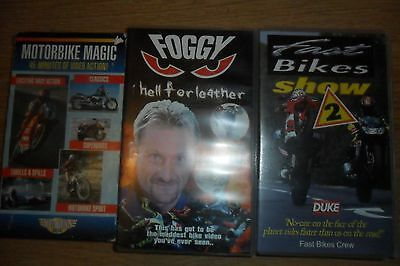 Joblot Of 3 Vhs/video Foggy Hell For Leather, Fast Bikes, Motorbike Magic (D)