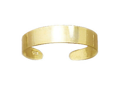 14 Karat Gold Over Solid .925 Silver 4mm Wide Band Toe Ring