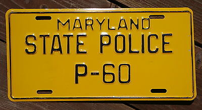 Maryland STATE POLICE License Plate # P-60  -  Original Paint