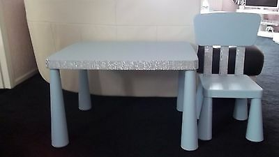 Blue kids childs diamante look bling table desk and chair life size