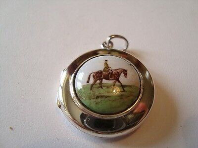 Solid Silver Locket Stamped 925 - With Hunting / Horse Themed Enamel Insert