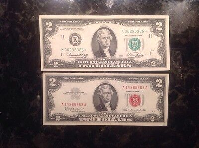 1963 $2 United States Note + 1976  $2 Federal Reserve Note -  STAR NOTE - Dallas