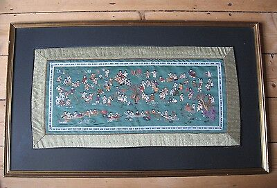 Antique/vintage Chinese Embroidery On Silk, One Hundred Children At Play, Framed