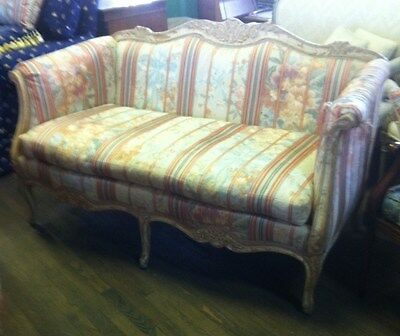 French Hand Carved Settee, Washed Ivory Oak Settee, Loveseat, Couch 369A