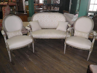 Antique French Parlor Set,Settee & 2 Side Chairs, Loveseat, Sofa And Chairs 251A