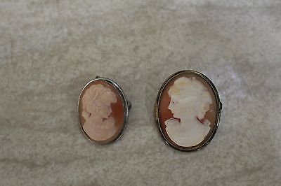 2 Old Vintage Sterling 800 Carved Shell Pendant/Brooch Cameos