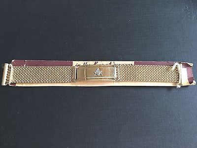 Vintage Nos Masonic Watch Band 1/20 12K  All Gold Filled Yellow  Gold
