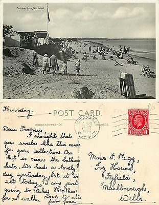 s09741 Bathing Huts, Studland, Swanage, Dorset, England RP postcard posted 1936
