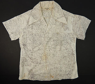 Vintage 1950's Kids Boys Age 8 Button Down Collar USA Map Print Shirt West Coast