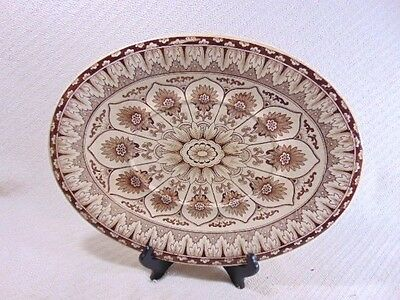 Vintage Antique Aesthetic Brown Transferware Serving Dish Platter Wall Hanger