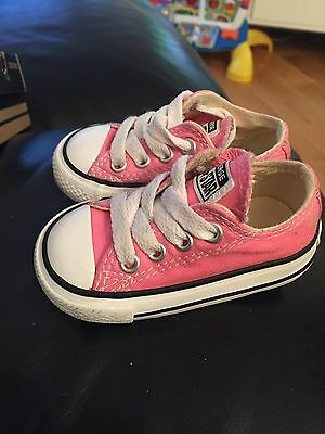 Baby Toddler  Girl Pink Converse All Stars Low Trainers Pumps UK Infant 3