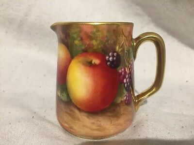 Royal Worcester Jug Hand Painted With Fruit Signed E Townsend