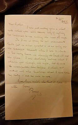Copy Ww1 Somme. Letter To Perry Boswells Father The Day Before Killed In Attack