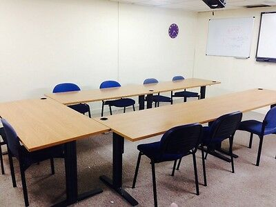 7 x LARGE ADJUSTABLE (HEIGHT) OFFICE TABLES
