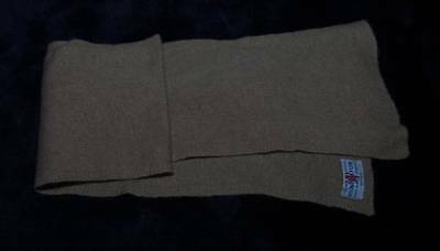 VINTAGE 1950s CHILD'S BROWN CASHMERE SCARF  MANROSPUN (4416)