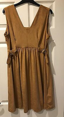 BNWT Ladies ASOS Tan Suedette Skater Maternity Dress With Buckles, Size 10