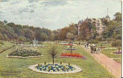 Bournemouth Central Gardens Man & Lady With Horse Drawn Buggy Ar Quinton Artist