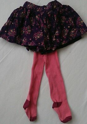 Floral aubergine skirt and tights bundle 12-18 months.