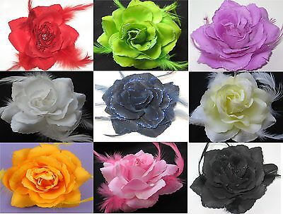 Glitter Edge Rose Flower Feathers Fascinator Hair Clip/Brooch Pin and Elastic