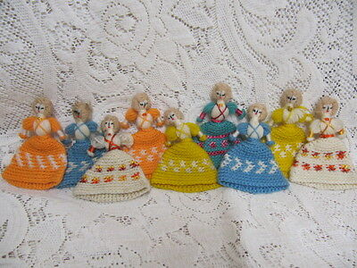 Vintage Knitted/Crocheted Egg Cozy - set of 9- Little Women so cute!