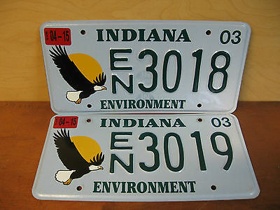 2-Sequential 2003 Indiana Environment State Issue License Plates Eagle En3018-19