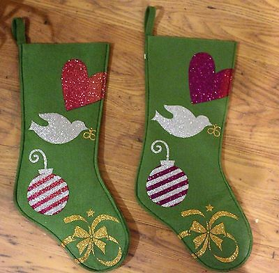 Green Arbonne BNWOT Christmas Stockings - Decorate Holiday Socks Glitter Dove