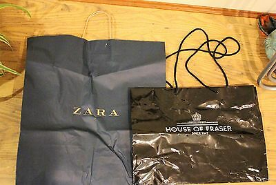 Bundle of 2 Store Shopping Bags - Paper and plastic Zara and House of Fraser