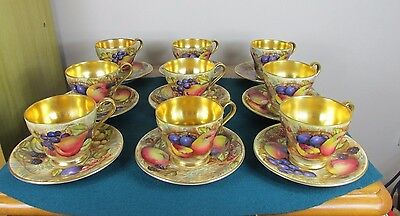 AYNSLEY ORCHARD GOLD COFFEE CUPS AND SAUCERS FOR NINE c. 1930's