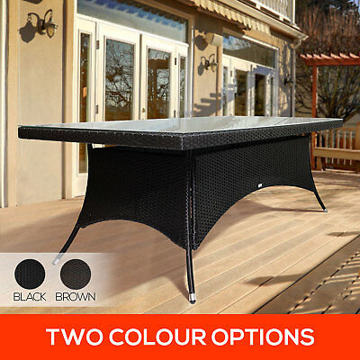 220cm PE Wicker Rattan Outdoor Dining Glass Top Garden Pool BBQ Patio Table