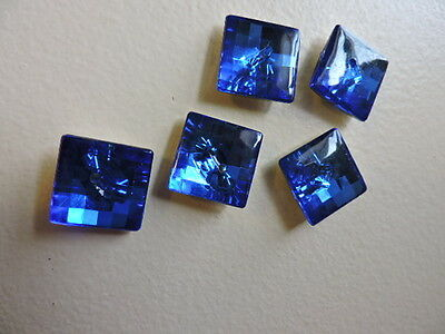 Vintage Sparkly Blue Square Iridescent Plastic Buttons