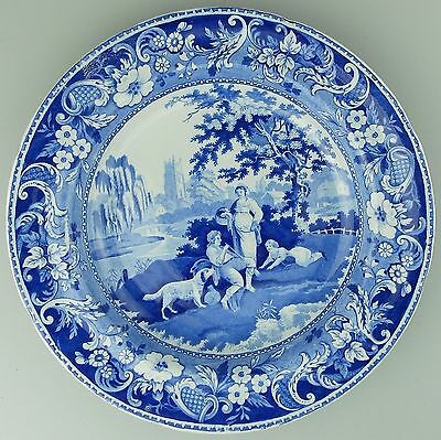 Antique B&W Pearlware Pottery : Davenport Villagers soup plate c.1793-1810